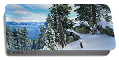Snow Covered Trees On Mountainside Portable Battery Charger