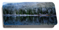 Snow Covered Trees Reflections Portable Battery Charger by Lynn Hopwood
