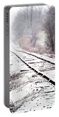 Snow Covered Wisconsin Railroad Tracks Portable Battery Charger