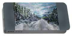 Portable Battery Charger featuring the painting Snow Drift by Desline Vitto