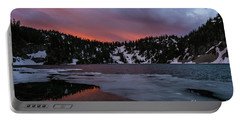 Snow Lake Icy Sunrise Fire Portable Battery Charger by Mike Reid