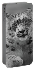 Portable Battery Charger featuring the photograph Snow Leopard  Bw by Sandy Keeton