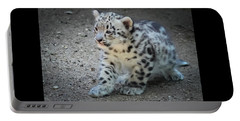 Snow Leopard Cub Portable Battery Charger by Terry DeLuco