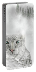 Snow Leopard Portable Battery Charger by Darren Cannell