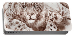 Snow Leopard In Sepia Portable Battery Charger