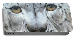 Portable Battery Charger featuring the painting Snow Leopard by Mike Brown