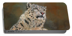 Snow Leopard On Rock Portable Battery Charger