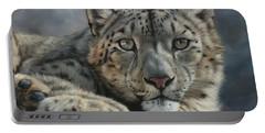 Snow Leopard Portrait Portable Battery Charger