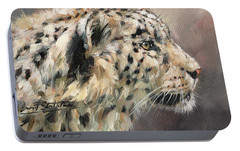 Portable Battery Charger featuring the painting Snow Leopard Study by David Stribbling