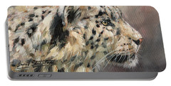 Snow Leopard Study Portable Battery Charger by David Stribbling