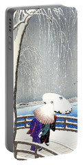 Snow On Willow Bridge By Koson Portable Battery Charger