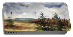 Snow Sky In Fall Portable Battery Charger by Judith Levins