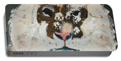 Portable Battery Charger featuring the painting Snow Tiger by Donald J Ryker III