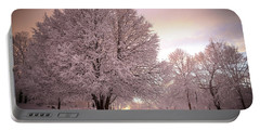 Snow Tree At Dusk Portable Battery Charger