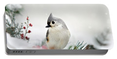Portable Battery Charger featuring the photograph Snow White Tufted Titmouse by Christina Rollo