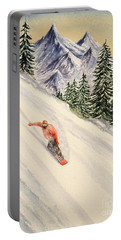 Portable Battery Charger featuring the painting Snowboarding Free And Easy by Bill Holkham