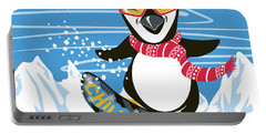 Snowboarding Penguin Portable Battery Charger