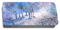 Snowfall In A Moonlit Wood Portable Battery Charger