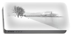 Snowfall On The River Danube At Ybbs Portable Battery Charger