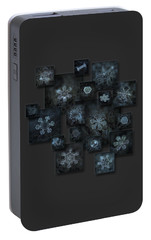 Portable Battery Charger featuring the photograph Snowflake Collage - Dark Crystals 2012-2014 by Alexey Kljatov