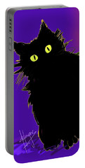 Snowflake Dizzycat On Purple Portable Battery Charger