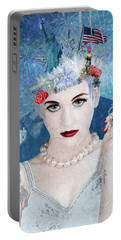 Portable Battery Charger featuring the digital art Snowflake by Nola Lee Kelsey