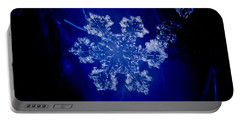 Snowflake On Blue Portable Battery Charger
