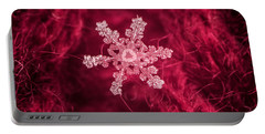 Snowflake On Red Portable Battery Charger