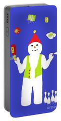 Portable Battery Charger featuring the digital art Snowman Juggler by Barbara Moignard