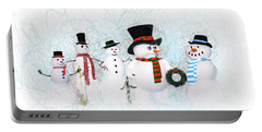 Portable Battery Charger featuring the painting Snowmen by Methune Hively