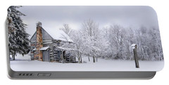 Snowy Cabin Portable Battery Charger by Benanne Stiens