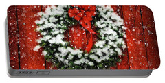 Snowy Christmas Wreath Portable Battery Charger by Lois Bryan