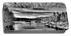 Snowy Day At The Green Bridge Portable Battery Charger by David Patterson