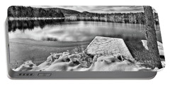 Portable Battery Charger featuring the photograph Snowy Dock by David Patterson