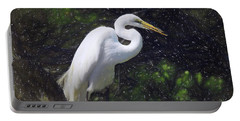 Snowy Egret Art - Patience Portable Battery Charger by Scott Cameron