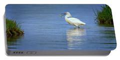 Snowy Egret At Dinner Portable Battery Charger by Rick Berk