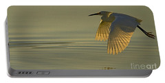 Portable Battery Charger featuring the photograph Snowy Egret At Dusk-signed-#6037 by J L Woody Wooden