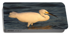 Portable Battery Charger featuring the photograph Snowy Egret By Sunset by Christiane Schulze Art And Photography