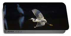 Snowy Egret In Flight In The Morning Light Portable Battery Charger