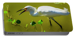 Snowy Egret In Florida Portable Battery Charger