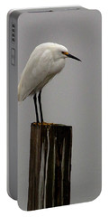 Snowy Egret In The Fog  Portable Battery Charger