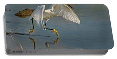 Snowy Egret On The Move Portable Battery Charger