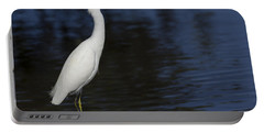 Snowy Egret Perched On A Rock Portable Battery Charger