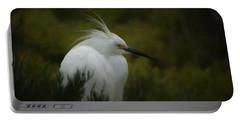 Snowy Egret Portrait Da Portable Battery Charger