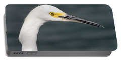 Portable Battery Charger featuring the pyrography Snowy Egret Profile by Shoal Hollingsworth