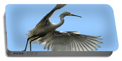 Snowy Egret Reflection In Lake Portable Battery Charger