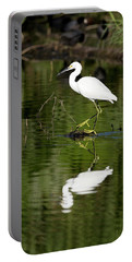 Snowy Egret Reflection Portable Battery Charger