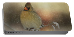 Portable Battery Charger featuring the photograph Snowy Female Cardinal by Lana Trussell