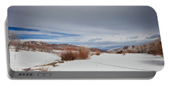 Snowy Field Portable Battery Charger by Sean Allen