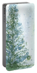 Portable Battery Charger featuring the painting Snowy Fir Tree by Dawn Derman